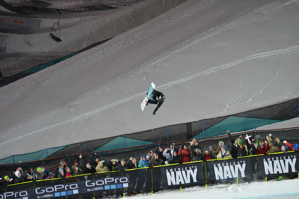 Shaun White explodes out of the superpipe Sunday night. - ©ESPN
