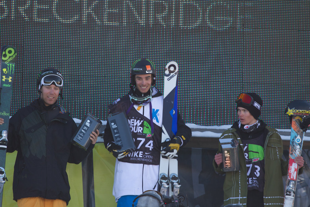 Mens superpipe podium with Kevin Rolland on top and Justin Dorey and Breckenridge local Duncan Adams taking second and third respectively. Photo By Liam Doran