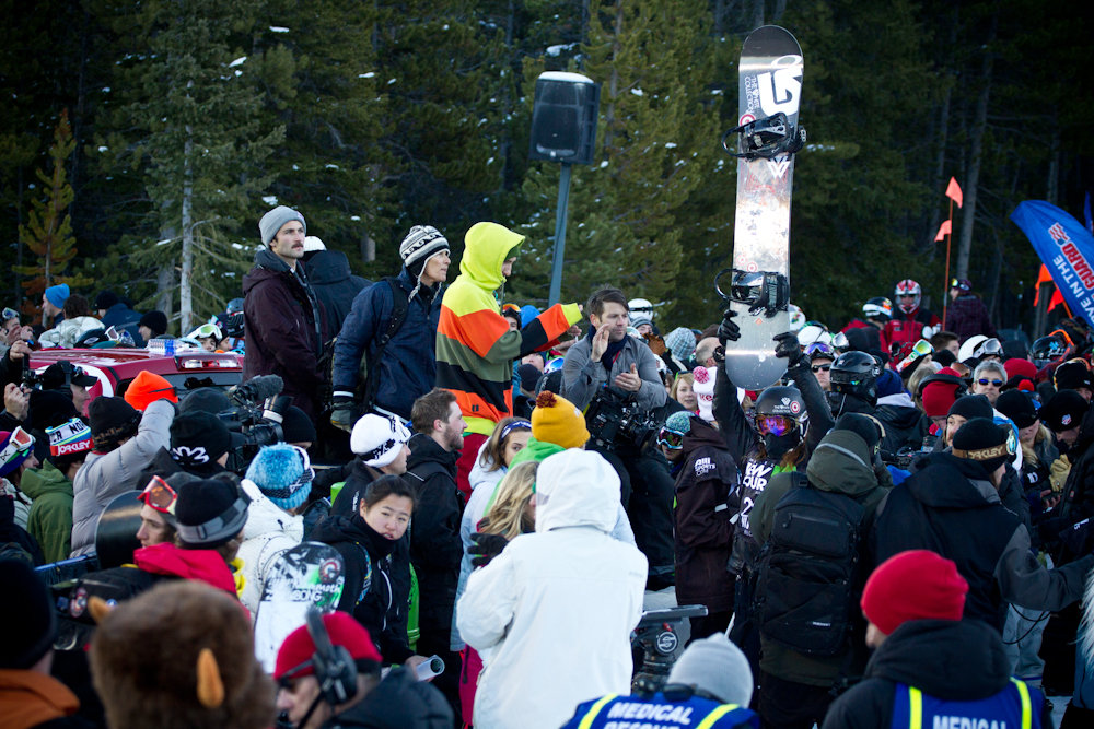 Shaun White engulfed in a sea of humanity. Photo By Liam Doran