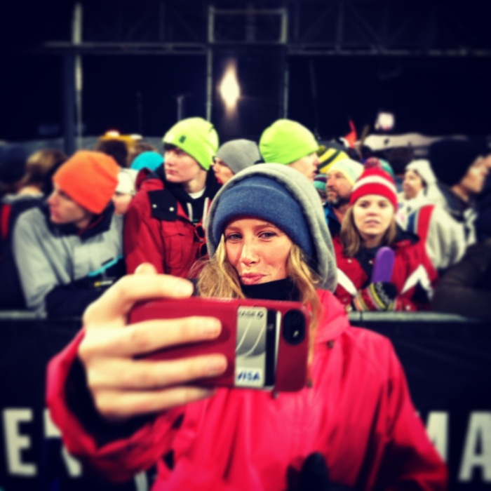 Ellery Hollingsworth enjoys the glamorous side of the sport while posing with all the fans at X Games.