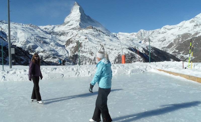 Ice skating next to the Matterhorn at the Riffelalp Resort, Zermatt