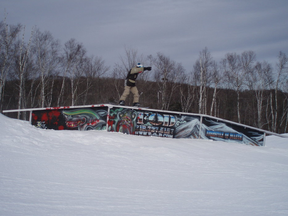 A view of a rail in the terrain park at Spirit Mountain, Minnesota