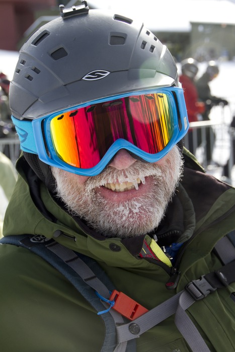 Coach Rickity is all smiles on Saturday at Sugarbush, VT. - ©Brian Mohr/EmberPhoto