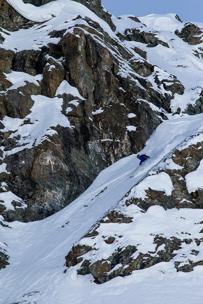 Fabio Studer finds a couloir at the Swatch Skiers Cup.