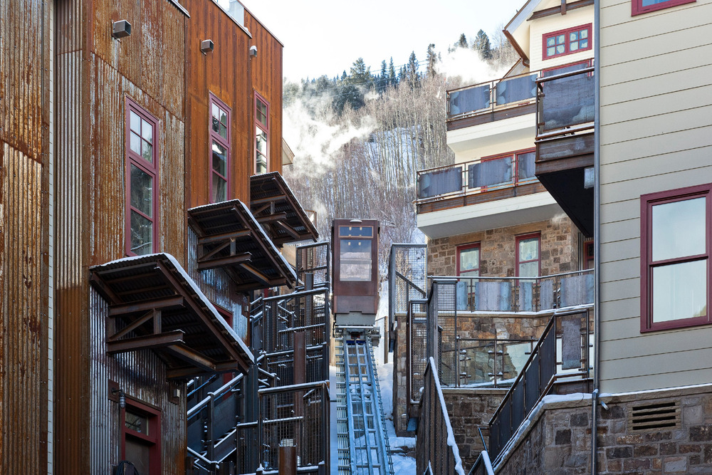 Skip a shuttle ride to the base of Telluride Trail ski run with this six-person funicular.