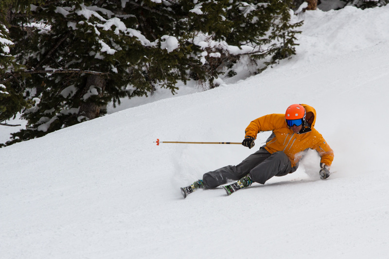 Erik Schlopy getting low at Snowbird for the 2013/2014 Ski Test. - ©Liam Doran