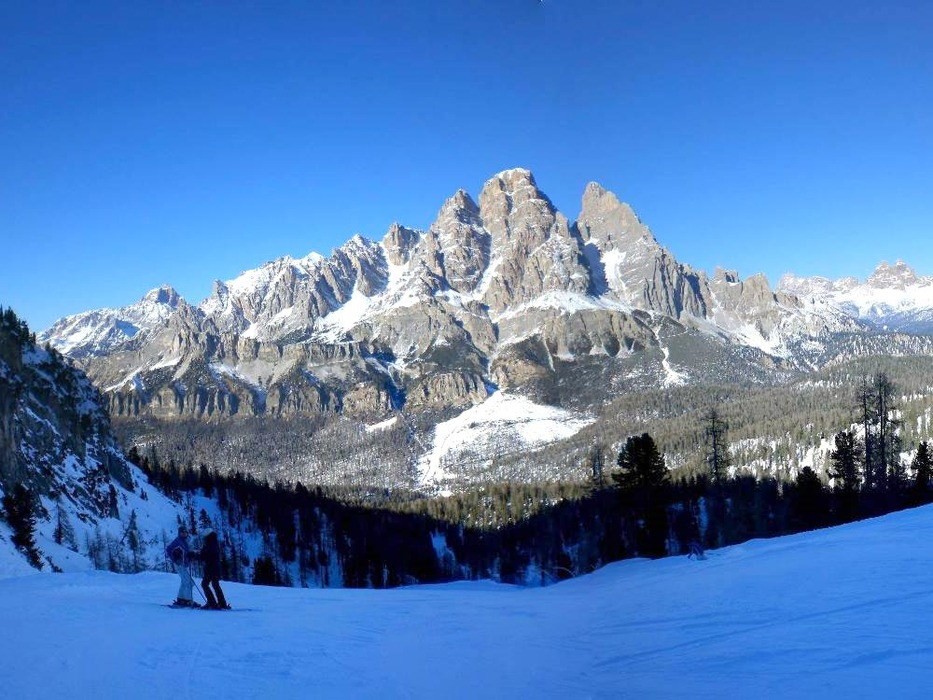 Skiers enjoying the slopes of Cortina, Italy.