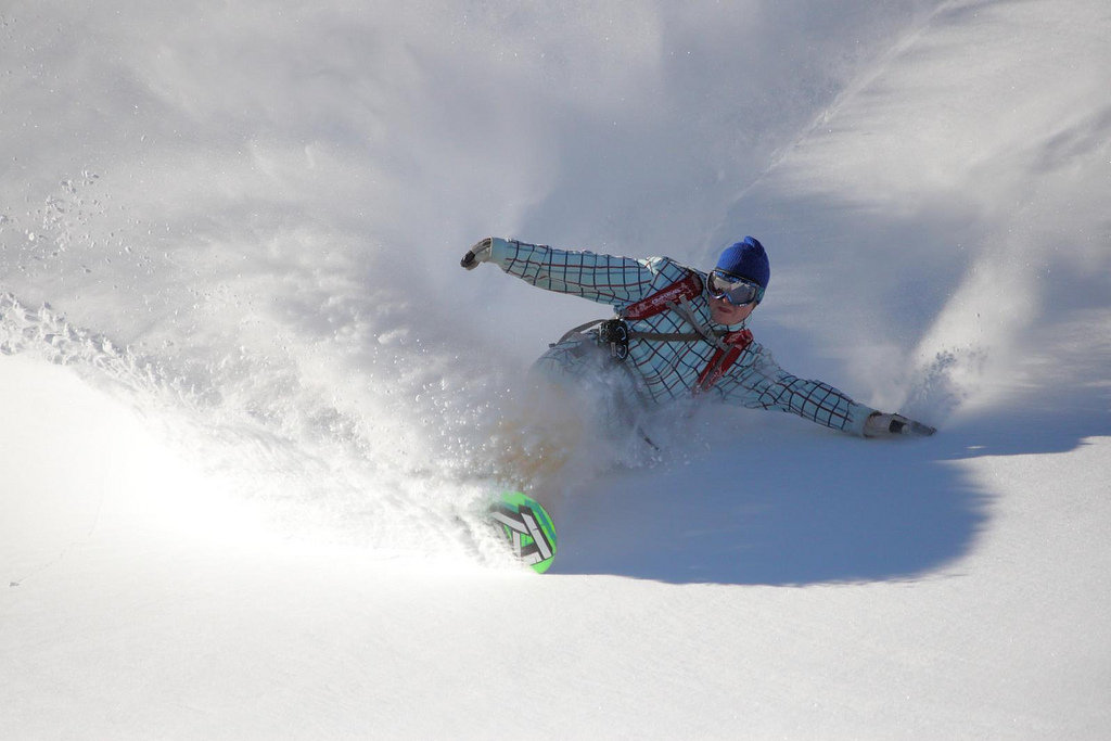 A snowboarder revels in Mt. Baker powder. Photo by Judd Hall/Flickr.