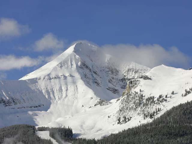 A scenic vista of Big Sky Resort, Montana.