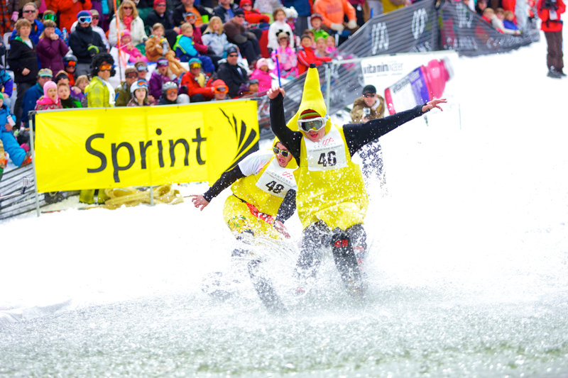 Pond skimming in action at Canyons Resort. - ©Rob Bossi