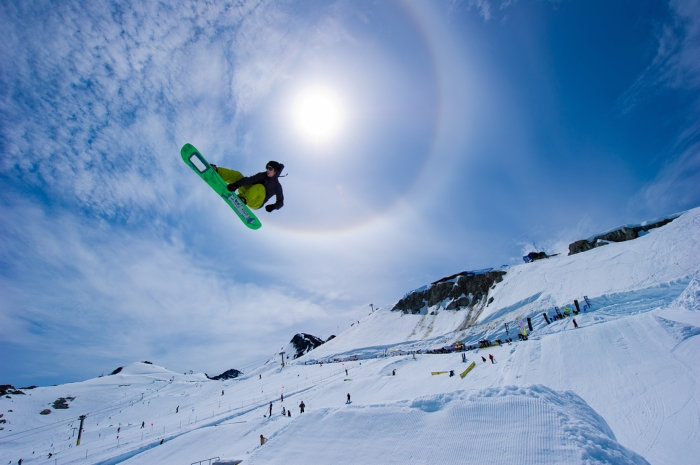 Snowboarding in summer on Horstman Glacier on Blackcomb Mountain. Photo by Mike Crane/Tourism Whistler.