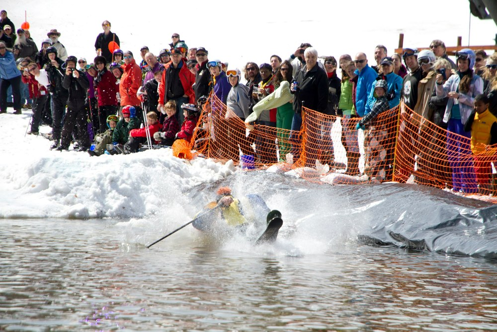 Pond-skimmers are a sure sign of spring, but there's still more skiing and riding to come at Whiteface. Photo Courtesy of Whiteface Mountain.