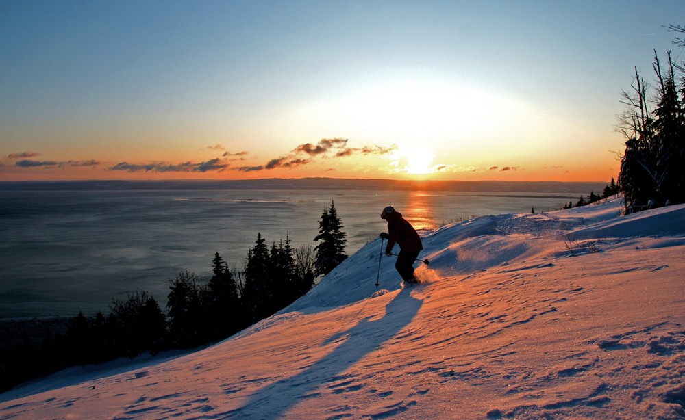 Sunset skiing in Quebec.