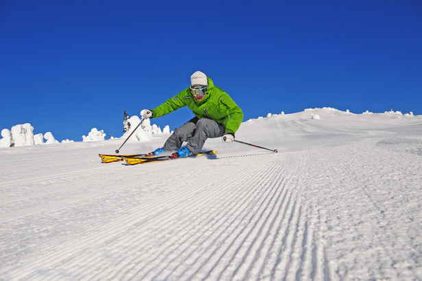A skier rips down a groomer at Big White. Photo by Quick Pics. Courtesy of Big White Resort