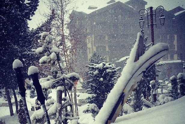 Snowfall in Val d'Isere today (Jan. 2) and another 33cm is forecast this weekend