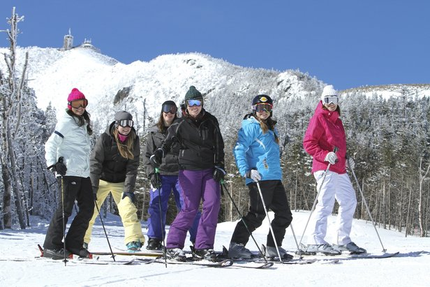 A group of Bostonians hit the slopes for the day.