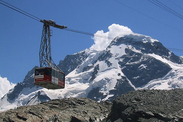 Klein Matterhorn cable car transports skiers up to the Theodul Glacier, Zermatt. - ©Ollie O'Brien