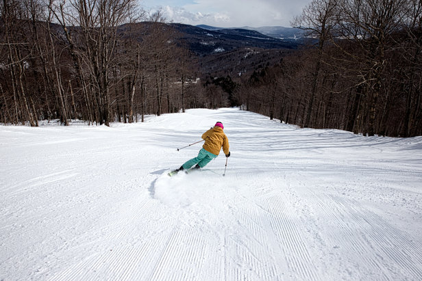 Mad River Glen skier, Moll Conroy loving the mid-week crowds. - ©Liam Doran