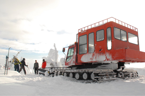 The pay-per-run snowcat takes skiers and riders from Grey Mountain up the new terrain on Mt. Kirkup at Red Resort. - ©Erik Kalacis/Red Resort