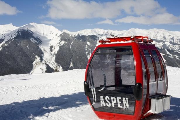 One of Aspen's signature red gondolas.