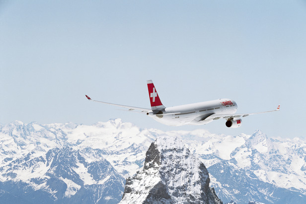 A Swissair jet flying over the Matterhorn. - ©SWISS