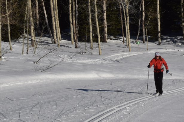 Grand Targhee's Nordic trails are groomed for classic and skate skiing. - ©Becky Lomax