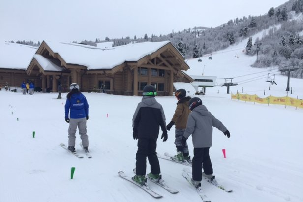 New skiers grab a lesson at the base of Snowbasin. - ©Snowbasin