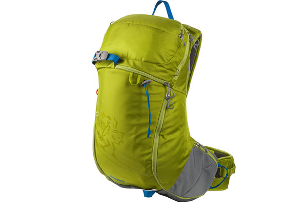 Bergans Instinden 26L ski pack stores layers, and its wide velcro hipbelt can be quickly pulled open to slip the pack in front for chairlift riding. - ©Bergans