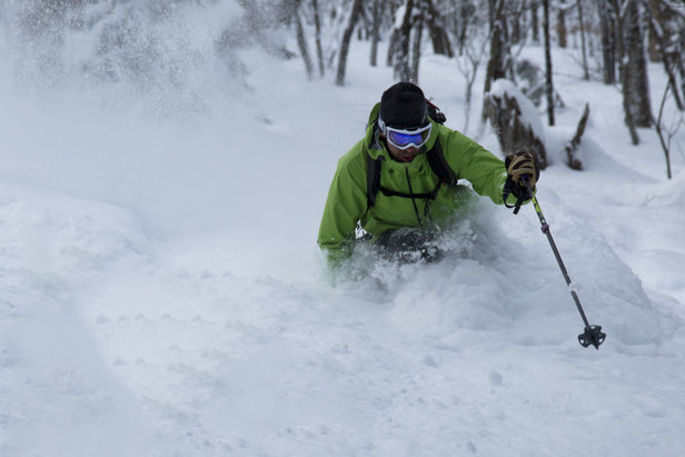 Zac Freeman skis Braintree Forest backcountry area. - ©Cyril Brunner
