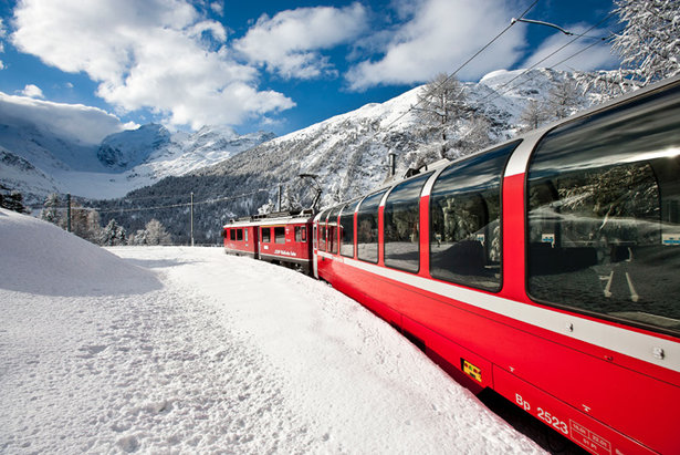Hop on board a ski train to the Alps.
