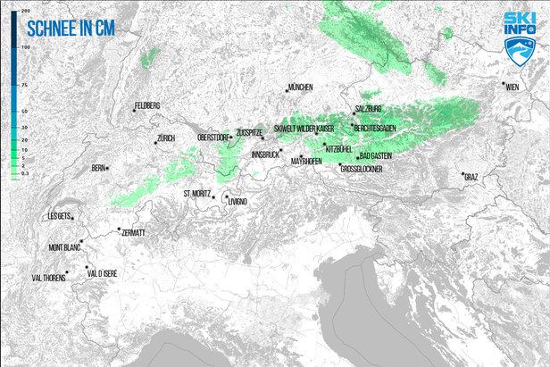 Schneevorhersage für den Alpenraum vom 08.12.2016 (6:30 Uhr) für die nächsten 96 Stunden - ©[c] ZAMG / Skiinfo