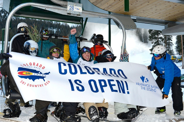 First chair of the Colorado ski sesaon at Arapahoe Basin - ©Jack Dempsey