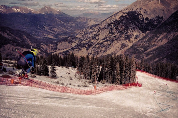 Travis gets some air while training at the U.S. Speed Center located at Copper Mountain in Colorado.