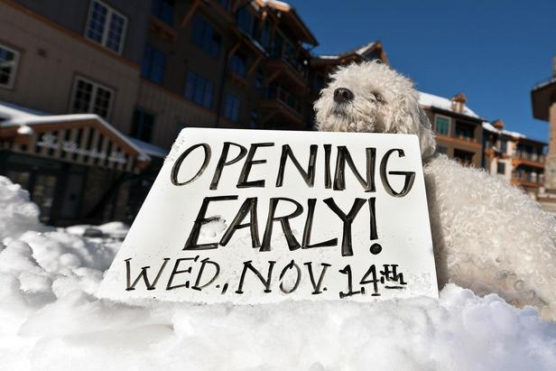Northstar's unofficial mascot making the early opening date announcement. Photo credit: Northstar