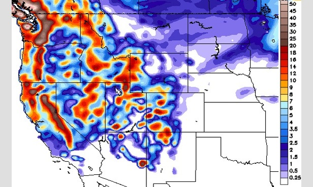 GFS forecast model of total snowfall in inches through 12/20.