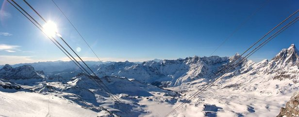 Cervinia ski area from the lifts. Dec. 31, 2012