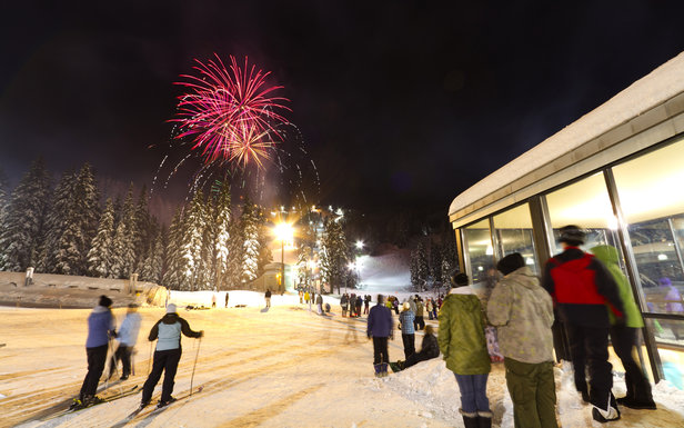 Mt. Hood Meadows celebrates New Year's Eve with fireworks. - ©Randy Boverman