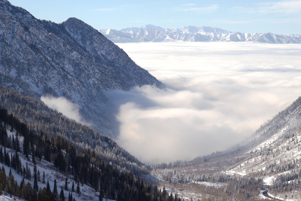 When an inversion settles into the Salt Lake valley, it's a warm, blue bird day on the mountains in Little Cottonwood.