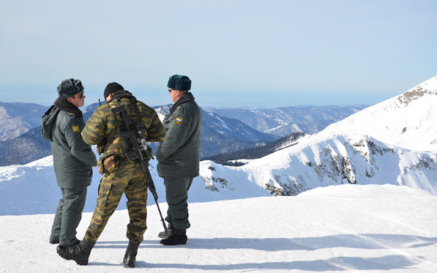 It's not often you find armed military personnel on the slopes in North America. At Rosa Kutor in Sochi, Russia… it's a different story.