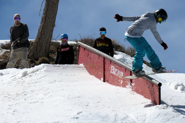Melissa Evans with a front-lipslide at Bear Mountain.  - ©Photo courtesy of Big Bear Mountain Resorts