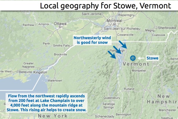 Learn how to predict snowfall totals at Stowe. - ©OpenSnow.com