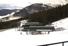 A webcam shows snow at the base of Marmot Basin. Photo courtesy of Marmot Basin webcam. - A webcam shows snow