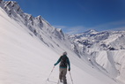 Traversing to get the goods at Valle Nevado. - Traversing to get the