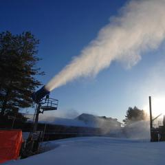 Sun guns and blue skies at Appalachian Ski Mountain.