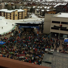 Steamboat's bustling base area, with concerts on tap all the time, is literally right below your balcony at the Sheraton.