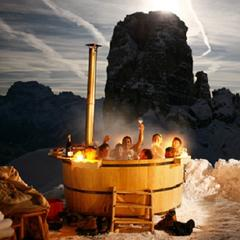 After dinner take a soak in the tub at Rifugio Scoiattoli