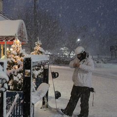 A snow storm coats the base lodge in fresh powder. Photo courtesy of Liberty Mountain Resort. 