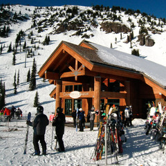 The Campbell Basin day lodge sits mid-way up Crystal Mountain Resort. Photo by Becky Lomax.
