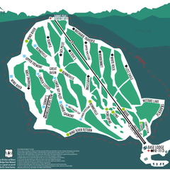 Trail map for White Pine Ski Area in Pinedale, Wyoming. Photo courtesy of White Pine Ski Area.