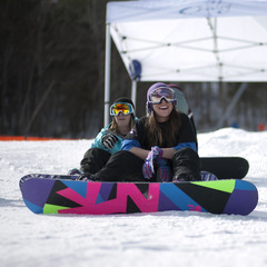 Loon hosts some awesome freestyle clinics for lady shredders. Photo Courtesy of Loon. 